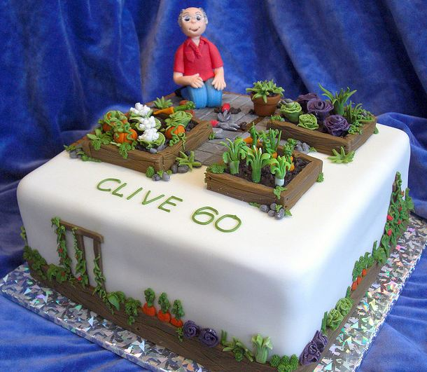 Cool vegetable gardening square white birthday cake with for Vegetable garden cake ideas
