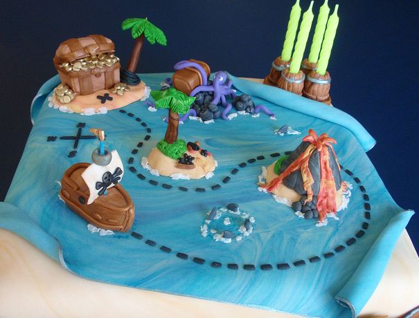Treasure Map Birthday Cake With Treasure And Islands And