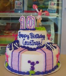 Two tier cheerleader theme Baskin Robbins birthday for 10 year old.JPG