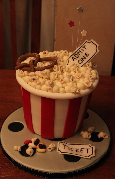 Popcorn Basket Movie Theater Theme Cake With Ticket Jpg 1