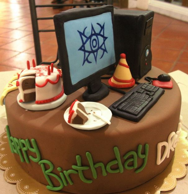 Chocolate Birthday Cake With Computer And Faux Cake Topper
