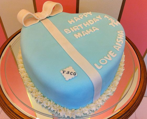Amazing Powder Blue Heart Shaped Birthday Cake With White Ribbon Jpg Funny Birthday Cards Online Alyptdamsfinfo