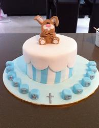 White and power blue Christening cake with brown rabbit on top.JPG