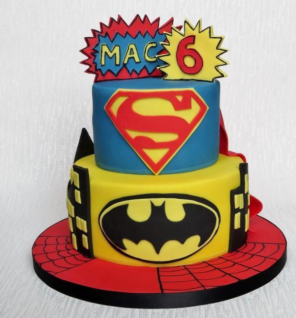 Superman Amp Batman 2 Tier Birthday Cake For 6 Year Old Jpg
