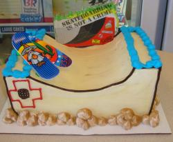 Skateboard ramp theme birthday cake.JPG