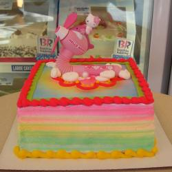 Hello Kitty riding on a fan square birthday cake.JPG