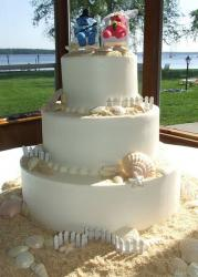 Three tier beach theme wedding cake with seashells and sand.JPG