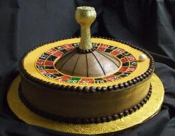 Roulette theme cake with gold foil.JPG