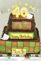 Three tier 40th birthday cake with paper money and dollar signs.JPG