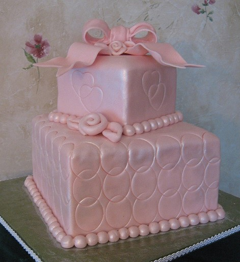 Bright pink wedding cake in square