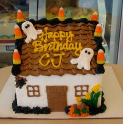 Halloween ghost house theme birthday cake.JPG