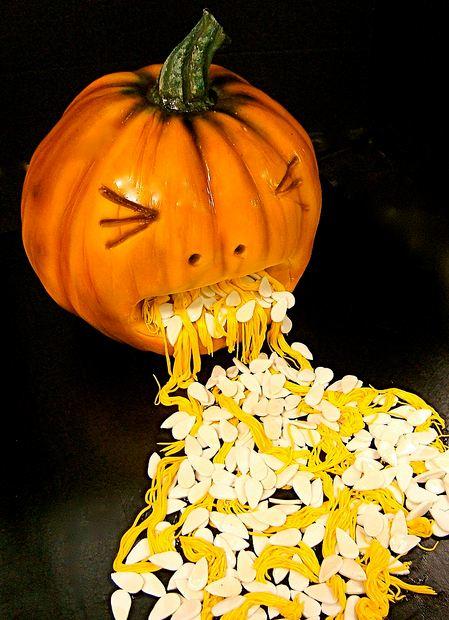 Halloween Pumpkin Cake Throwing Up Seeds Jpg 3 Comments