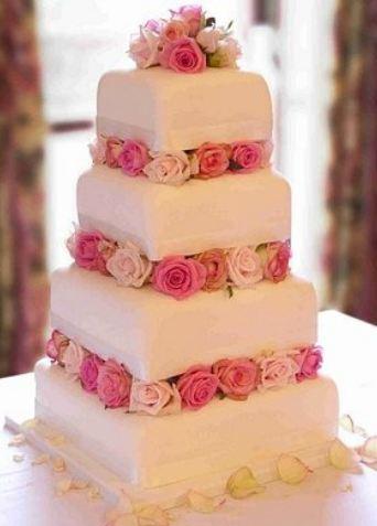 Four Tier Wedding Cake Size