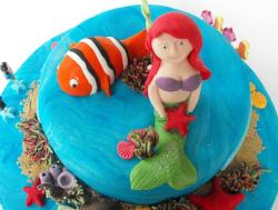 Mermaid and ocean theme round blue cake.JPG