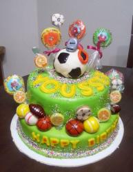 Two tier lime green sports theme birthday cake.JPG
