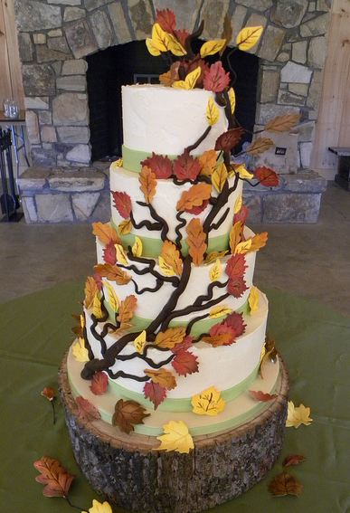 Five Tier White Tree Theme Wedding Cake With Branches And