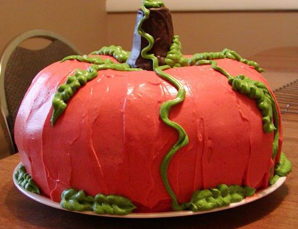 Thanksgiving cake in the shape of a pumpkin.JPG