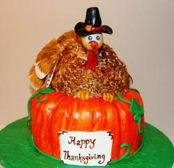 Thanksgiving cake with turkey and pumpkin.JPG