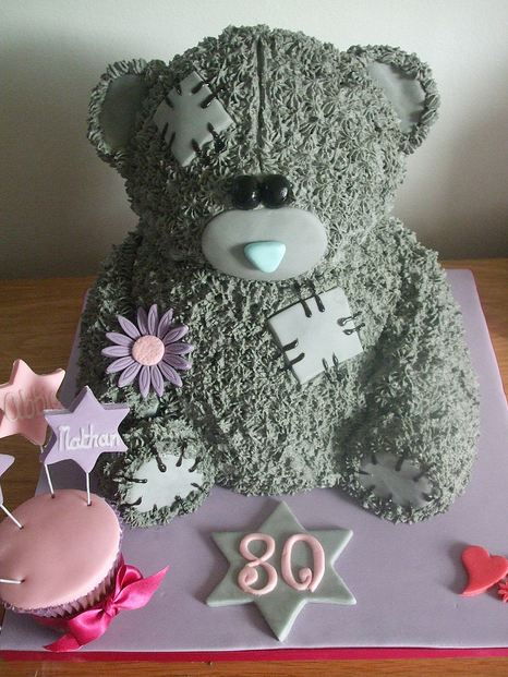 Patched Up Teddy Bear 80th Birthday Cake Jpg 2 Comments