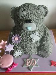 Patched up teddy bear 80th birthday cake.JPG