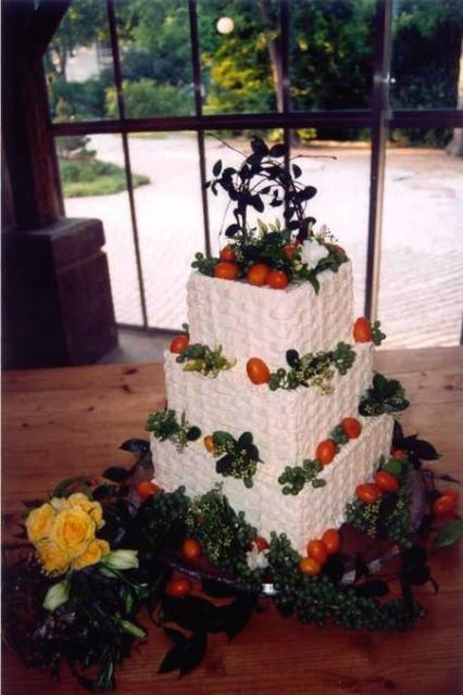 white square wedding cake photo