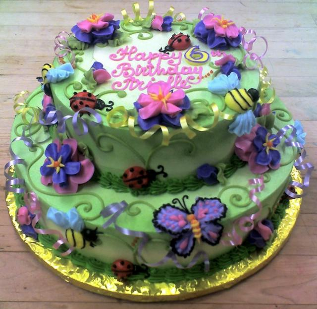 2 Tier Green Garden Birthday Cake With Butterflies Ladybugs For 6