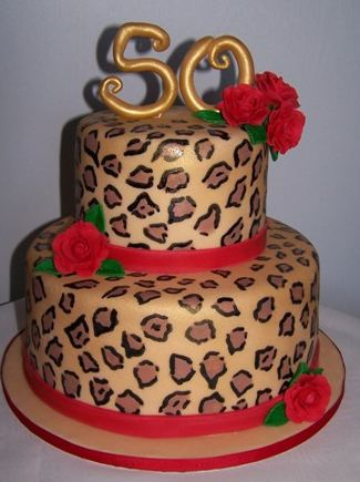 Two Tier Lepoard Spot Fiftieth Birthday Cake Jpg 1 Comment