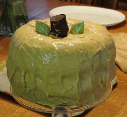 Greenish yellow homemade pumpkin cake for thanksgiving.PNG