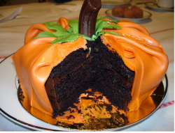 Pumpkin cake with dark chocolate inside.PNG