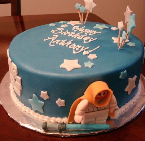 Blue round Star Wars lego theme birthday cake.JPG