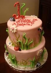 Two tier light pink ladybug theme birthday cake.JPG