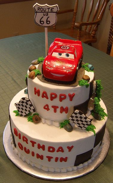 Two tier Cars theme birthday cake for four-year-old.JPG