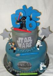 Two tier Star Wars birthday cake.JPG