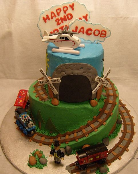 Two Tier Train Theme Second Birthday Cake