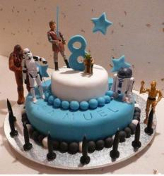 Two tier Star Wars theme birthday cake for 8-year-old with Star Wars characters.JPG