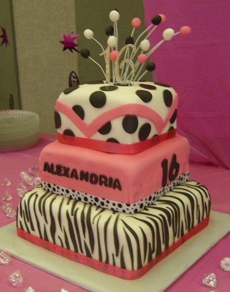 Three Tier Sweet 16 Birthday Cake With Zebra Stripes