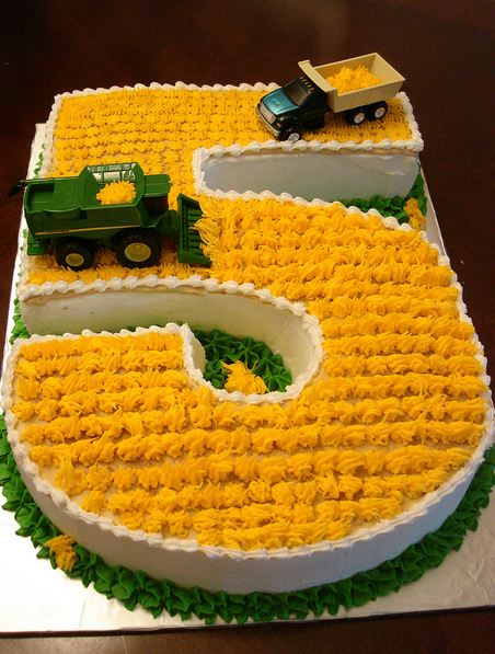 Birthday Cake For Five Year Old In The Shape Of Number 5 With Farming Trucks