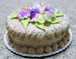 Mocha cake with fresh flowers on top.JPG