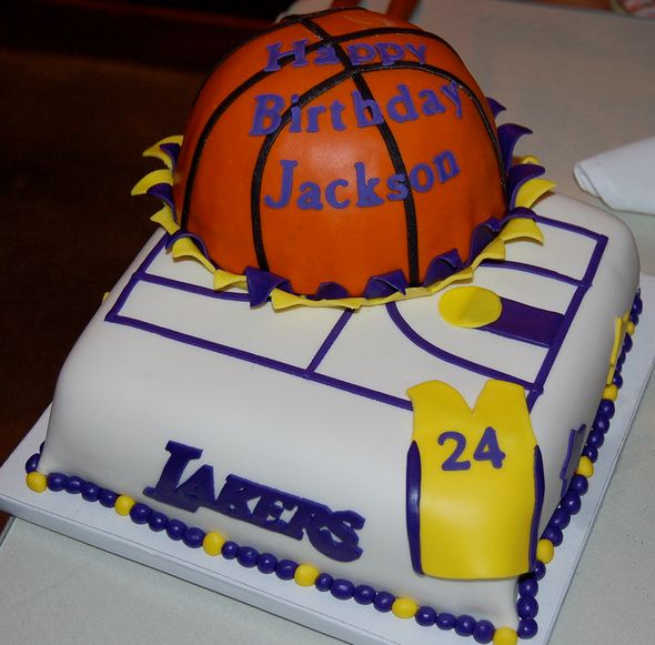 Los Angeles Lakers Basketball Theme Birthday Cakeg