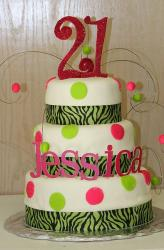 Three tier round white 21st birthday cake with zebra stripes and the number 21 on top.JPG