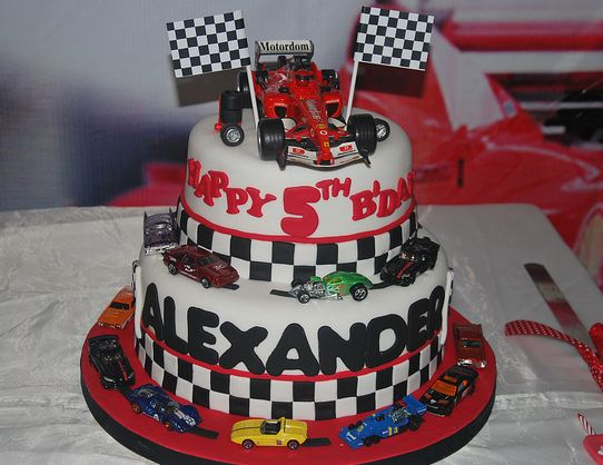 2 tier race car theme birthday cake for 5 year old.JPG