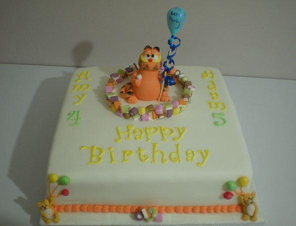 Peachy Garfield Theme Square Birthday Cake Jpg Personalised Birthday Cards Veneteletsinfo