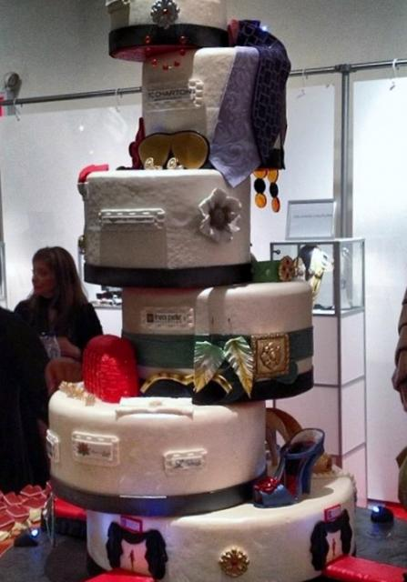 6 tier Fashion Theme offset cake with shoes & ties.JPG