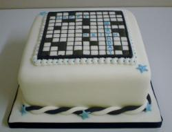 White cubic cross word puzzle birthday cake.JPG