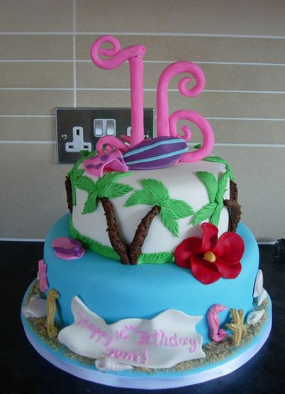Hawaii Theme 2 Tier Sweet 16 Birthday Cake With Pink On TopJPG