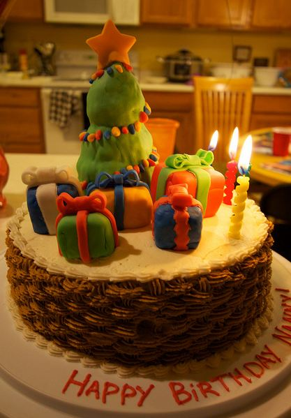 Basket Weave Birthday Cake With Christmas Tree And Presents On Top