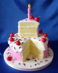 Two tier pink round birthday cake with slice on top and fake candle.JPG