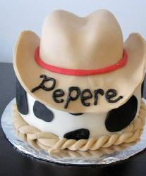 Cowboy hat cake with cow spots.JPG