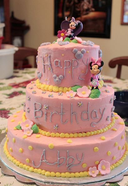 3 tier pink Disney theme birthday cakeJPG