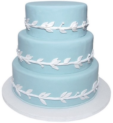 picture of baby blue wedding cake with white patterns